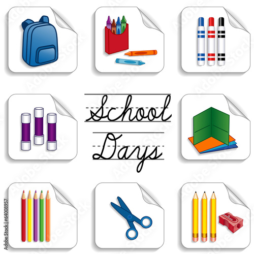 School Days Stickers for daycare, kindergarten, scrap books
