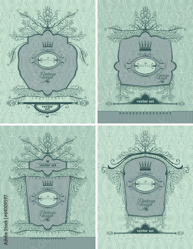 Vector set of royal frames. Vintage style.