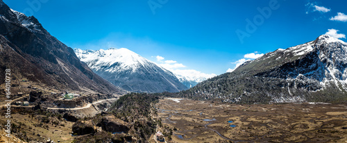 Panorama Landscape of Kupup valley under cloudy sky, Sikkim