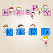 hand drawing cartoon happy kids and positive words