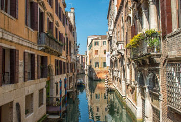 Beautiful Venice Canal. Homes of Venezia, Italy