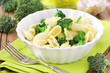 Orecchiette with broccoli in a white plate
