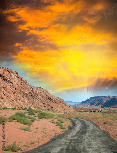canvas print picture National Park Road at sunset