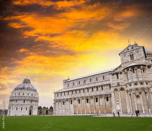 Pisa. Baptistery and Cathedral in Mirecles Square with dramatic
