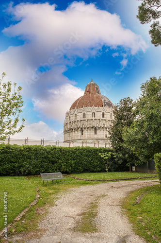 Pisa. Beautiful view of Bapistery from surrounding gardens