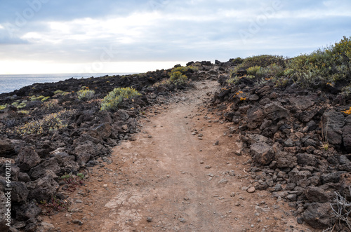 Stony Road at Volcanic Desert