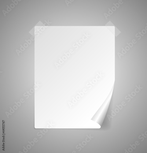 Vector sheet of paper isolated on gray