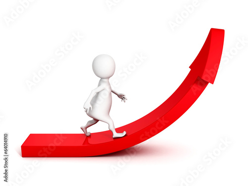 white 3d man walk on rising up red arrow