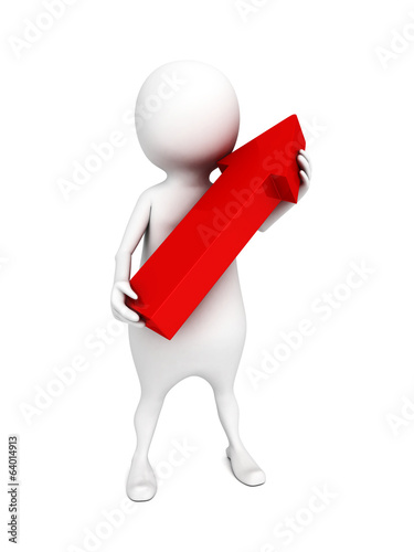 white 3d man holding red arrow