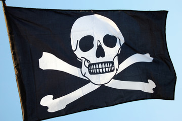 Pirate flag of skull and crossbones
