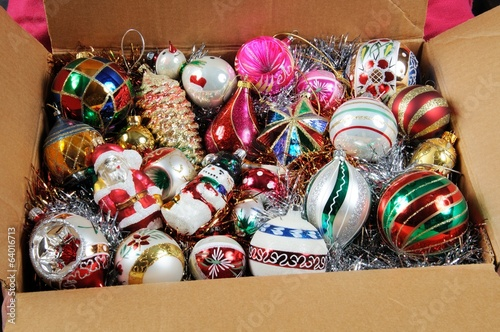 Box of Christmas ornaments © Arena Photo UK