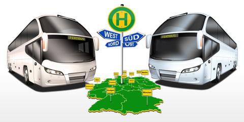 Busse mit Bushaltestelle, Busbahnhof, Fernbus