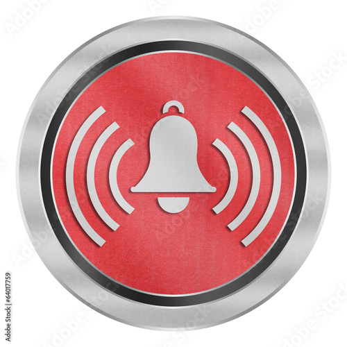 paper cut of alarm bell with signal is alert symbol icon on red