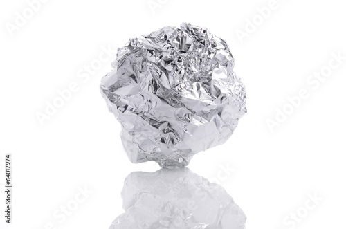 crumpled aluminum foil ball isolated on white background