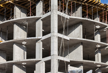 Tall apartment building under construction