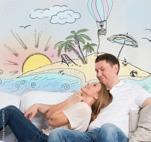 Couple planning summer holidays vacation