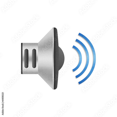 paper cut of speaker volume icon with blue wave for communicatio