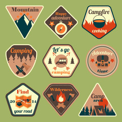 Outdoors tourism camping flat badges set