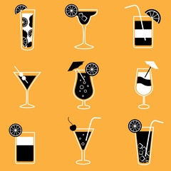 Collection of party cocktails with alcohol