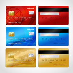 Realistic credit cards set
