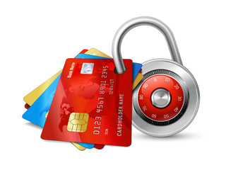 Set of secure credit cards with chips