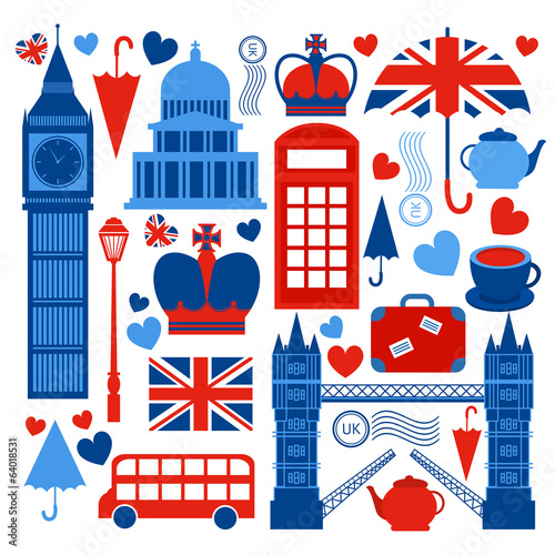 Leinwanddruck Bild London symbols collection