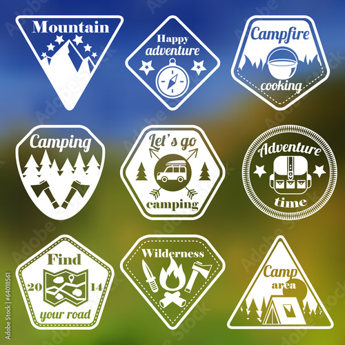 canvas print picture Outdoors tourism camping flat emblems set
