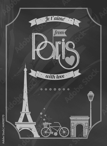 Love Paris chalkboard retro poster