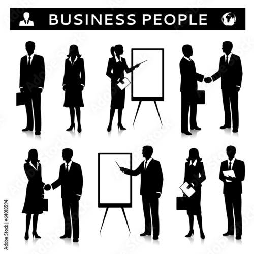 Flipcharts with business people silhouettes