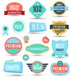 Tag colour badges set promotion guarantee poster