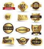 Gold badges set promotion guarantee poster