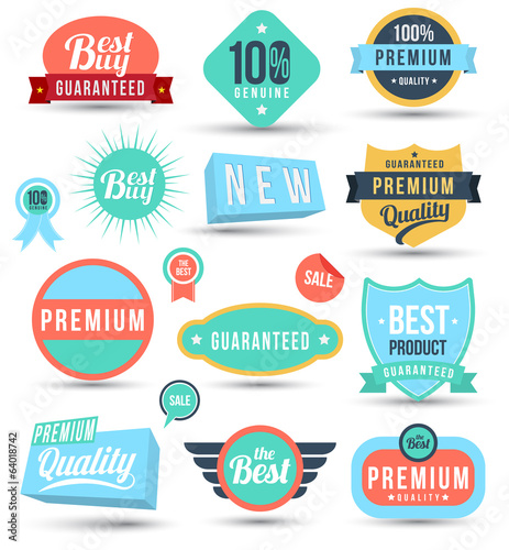 Tag colour badges set promotion guarantee
