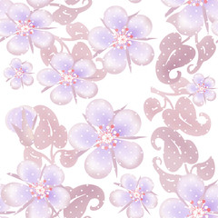 Seamless pastel floral pattern on white dotted