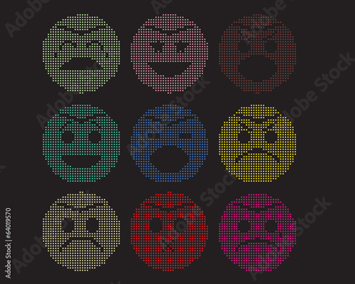 mosaic icons of smiley faces.