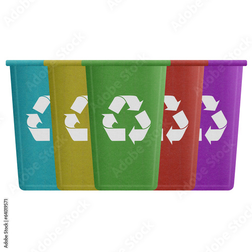 paper cut of recycle bin is can recycling to garbage for environ