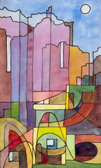 a semi-abstract painting of buildings on the island of Capri
