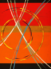 An abstract painting with arcs, circles and stripes