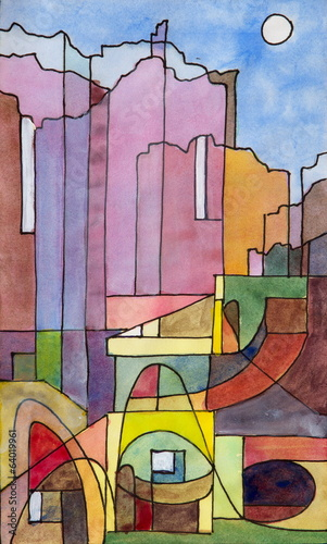 Obraz a semi-abstract painting of buildings on the island of Capri