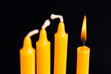 A candle is ligt up,Concept of be different.