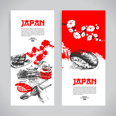 Set of Japanese sushi banners. Hand darwn sketch illustrations