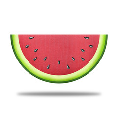 paper cut of red watermelon slice is sweet fruit for health food