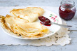 Pancakes with raspberry jam