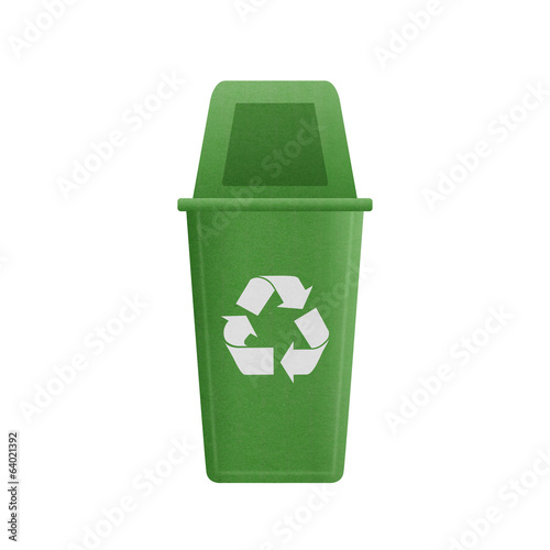 paper cut of green recycle bin is can recycling to garbage for e