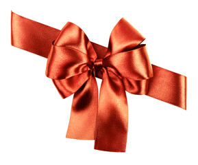 red brown bow made from silk ribbon
