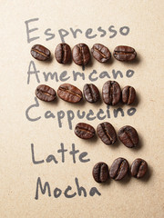 Roasted arabica coffee beans on paper texture with text backgrou