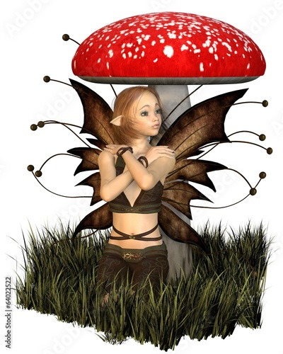 Pretty Fairy Sheltering Under a Toadstool