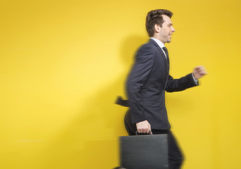 Art picture of running businessman