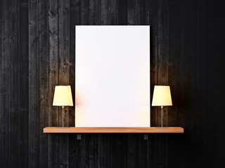 Dark wood wall with shelf and blank poster