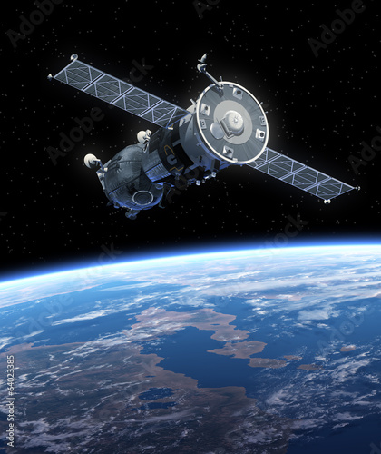"Spacecraft ""Soyuz"" Orbiting Earth."