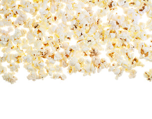 White surface covered with the popcorn